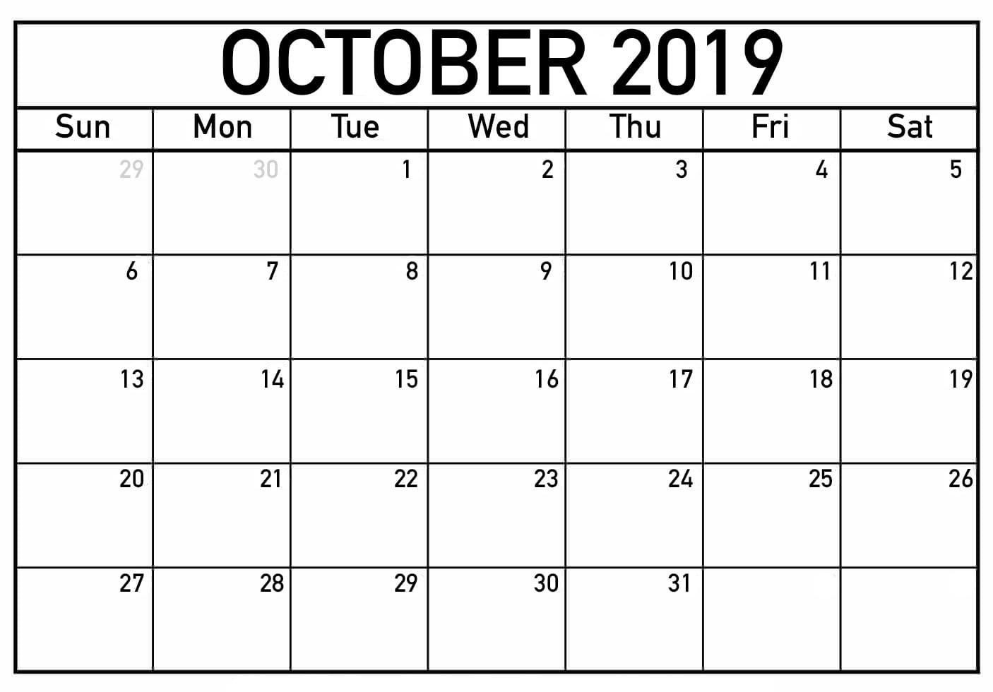 graphic relating to Blank October Calendar Printable identified as Oct Calendar 2019 Printable PDF Term Template Absolutely free