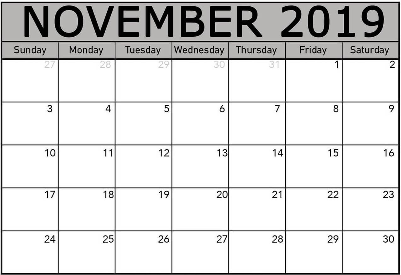 Printable Calendar Template November 2019