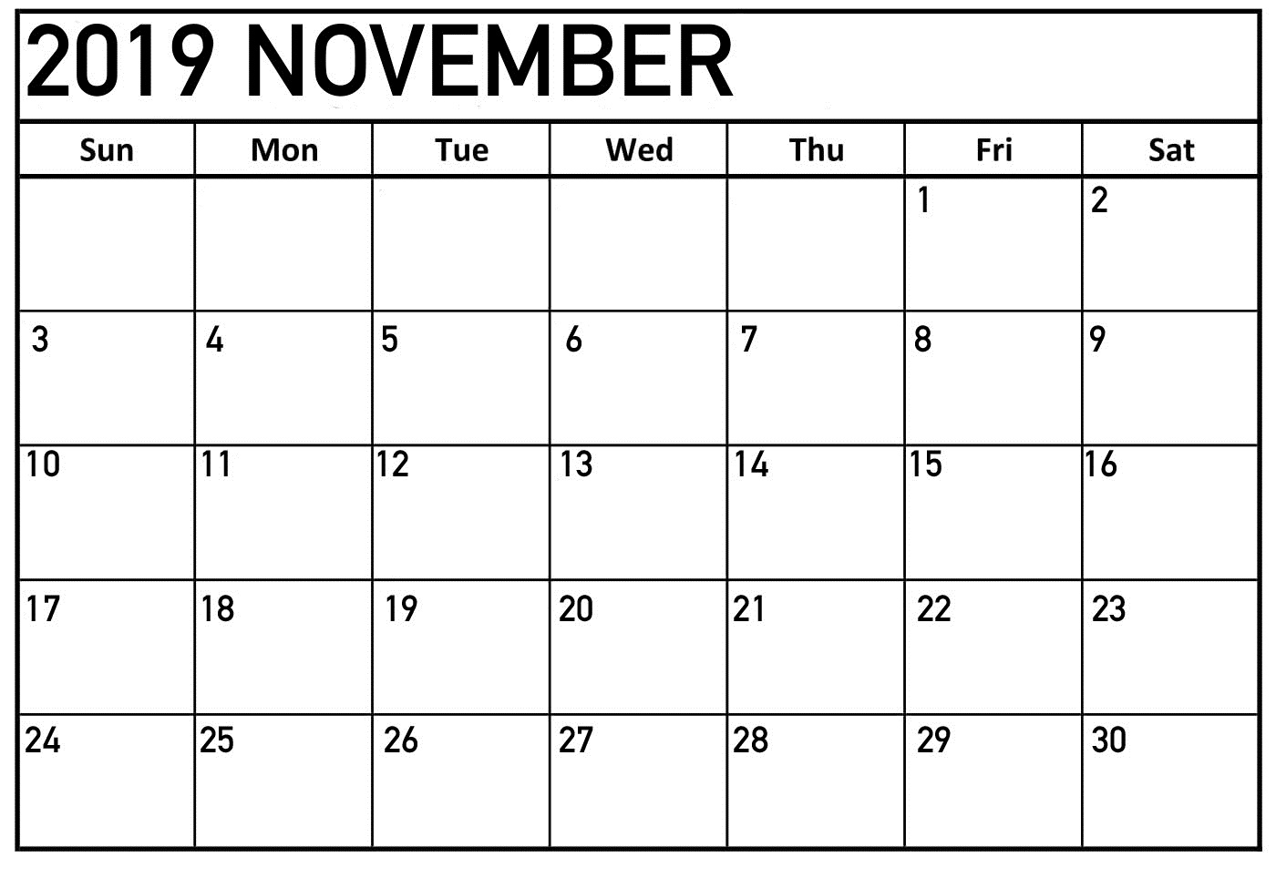 Printable Monthly Calendar November 2019