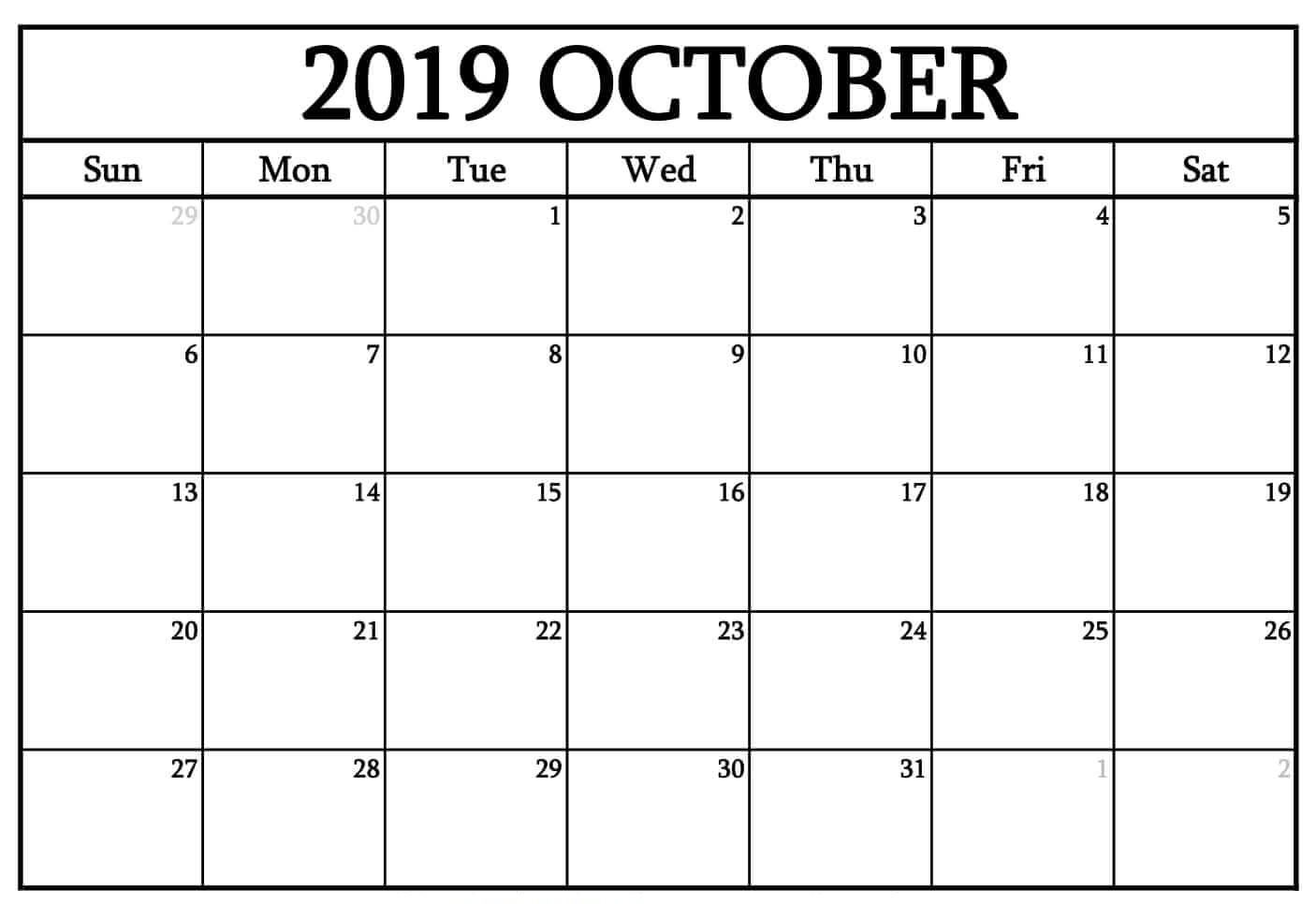 Printable Monthly Calendar October 2019
