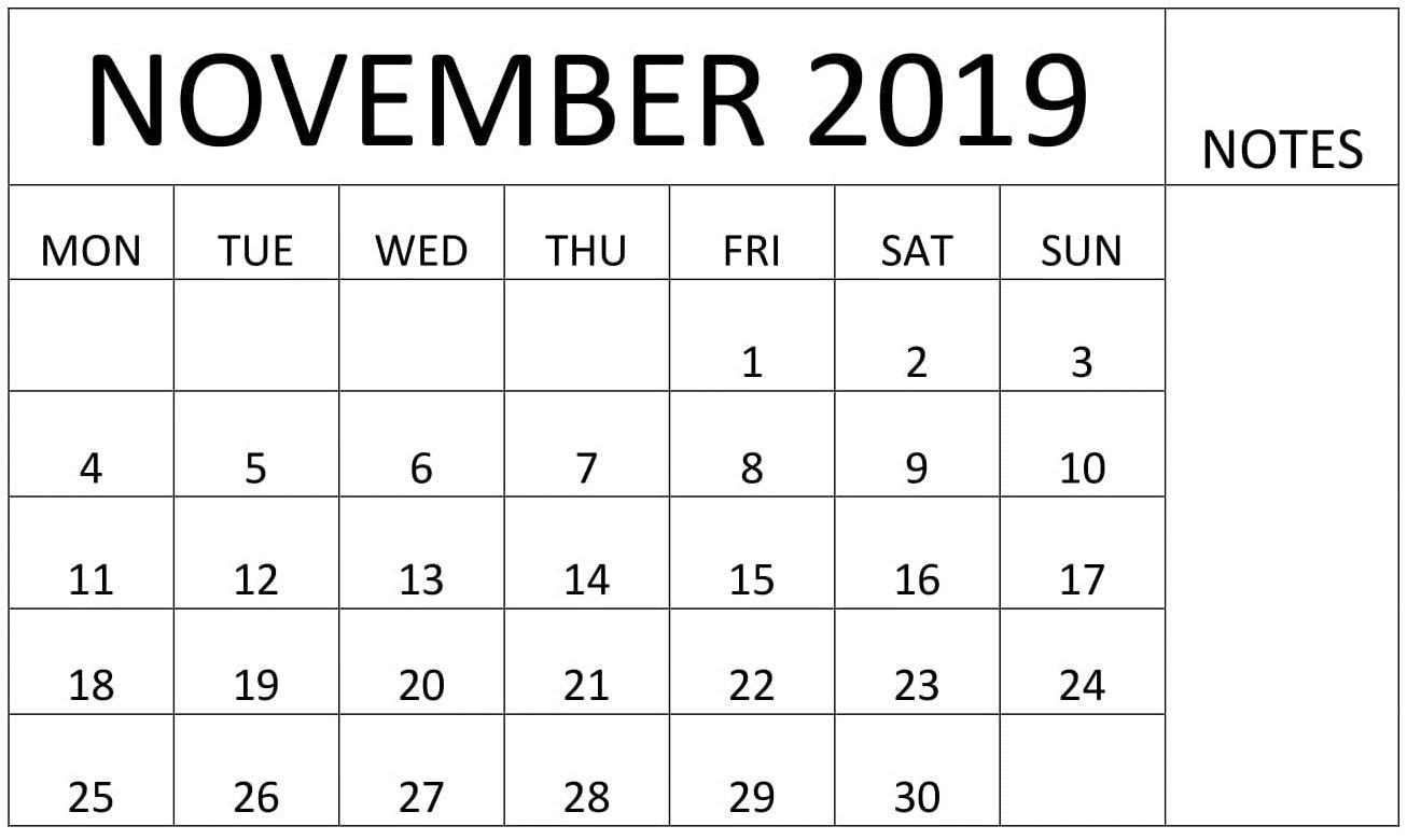 Printable November 2019 Calendar with Notes