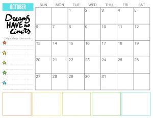 Printable October 2019 Cute Calendar