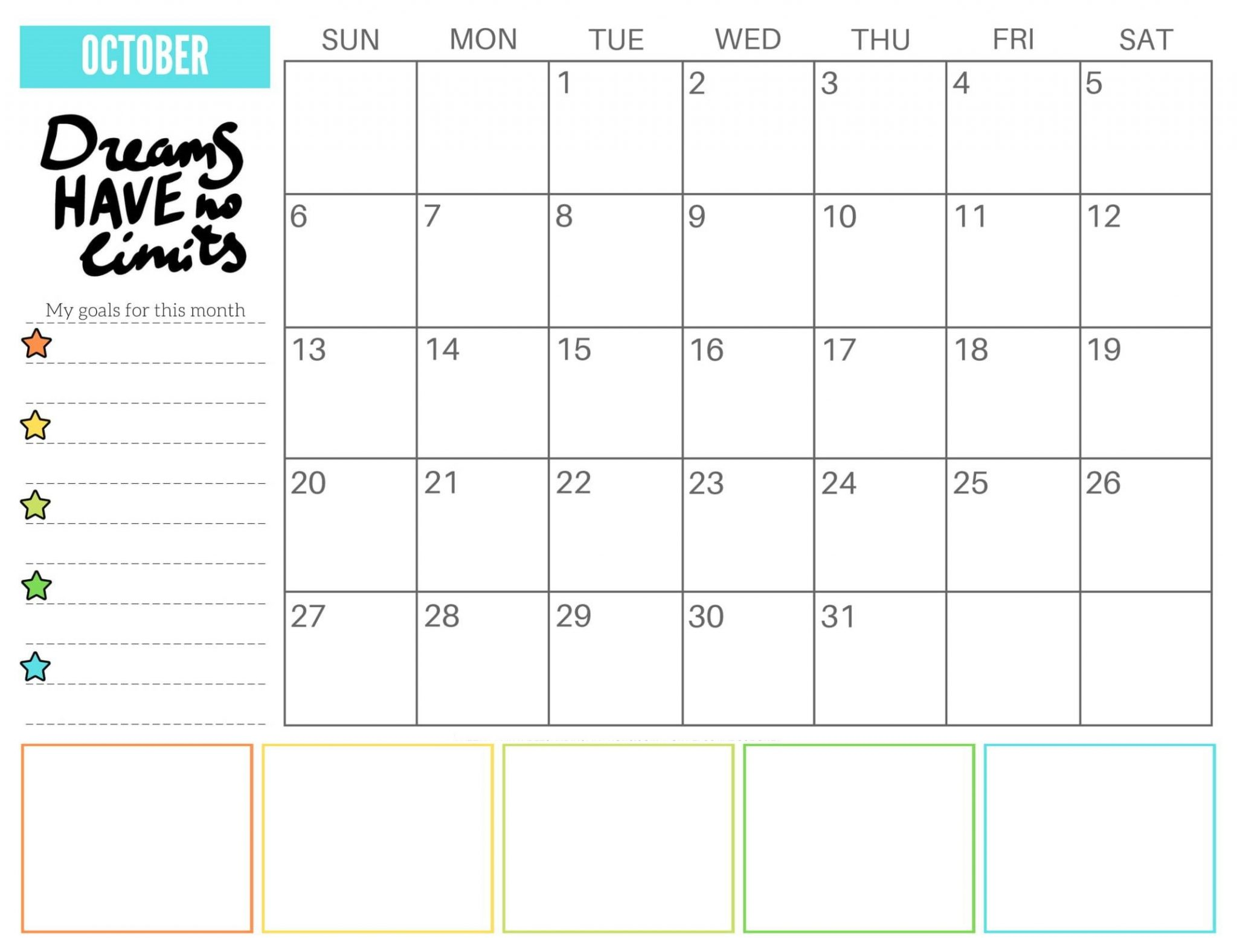 Printable October 2019 Cute Calendar