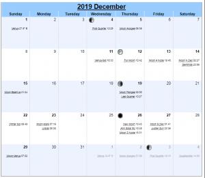 2019 December Moon Phases Calendar