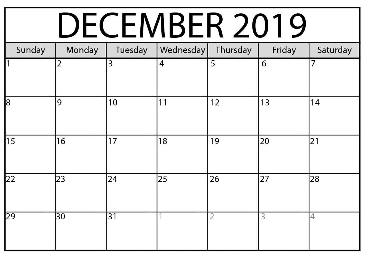 Blank Calendar 2019 December With Line