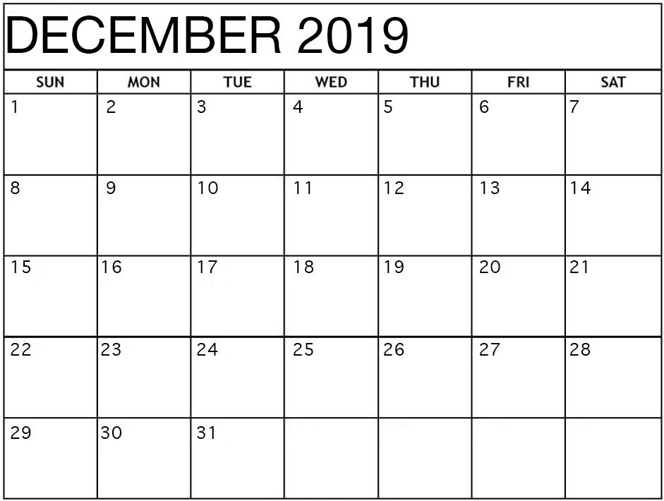 Blank Calendar December 2019 Word