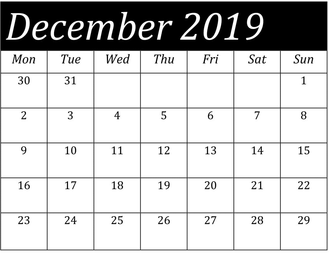 Blank December 2019 Monthly Calendar Template