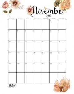 Cute November 2019 Calendar