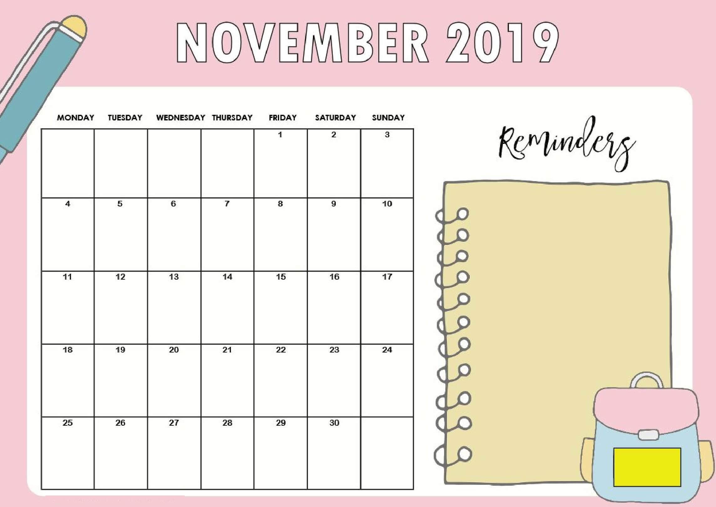 Cute November 2019 Calendar For Kids