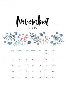 Cute November 2019 iPhone Calendar