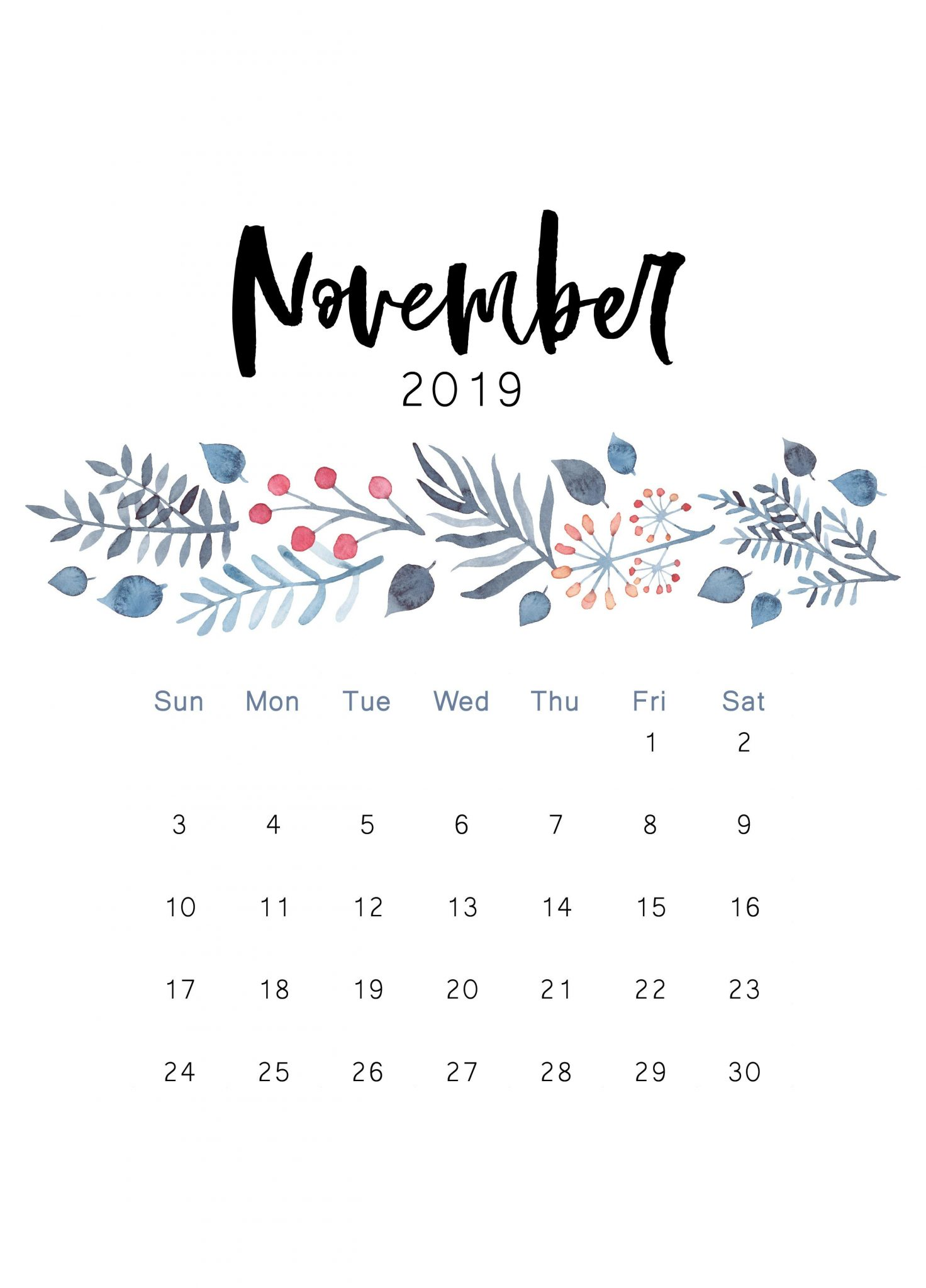 Cute November 2019 iPhone Calendar
