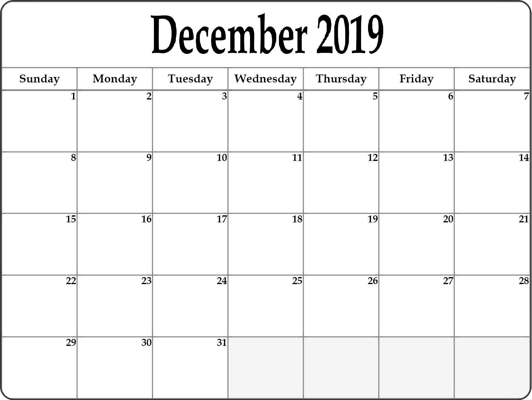 December 2019 Blank Calendar Page