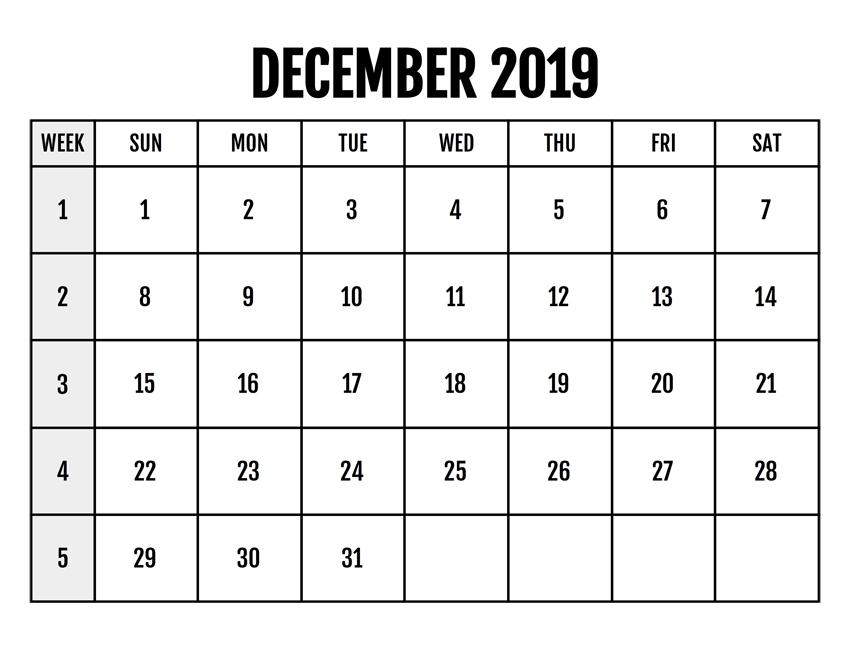 December 2019 Calendar Blank