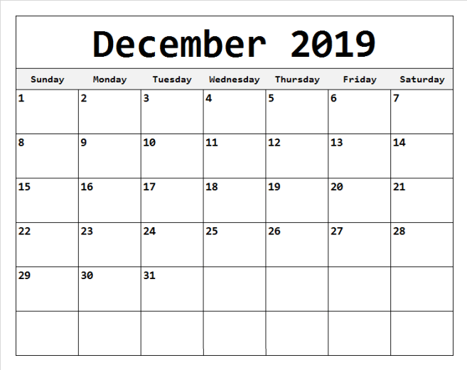 December 2019 Calendar For Editable Template