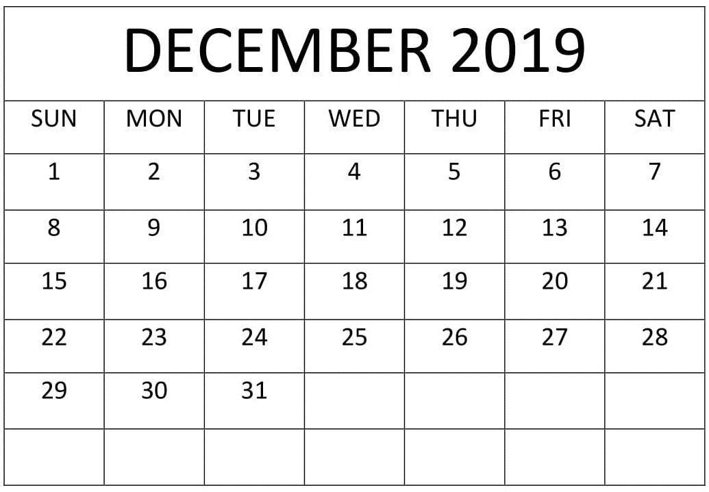 December 2019 Calendar Template PDF