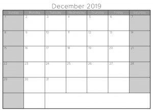 December 2019 Editable Calendar