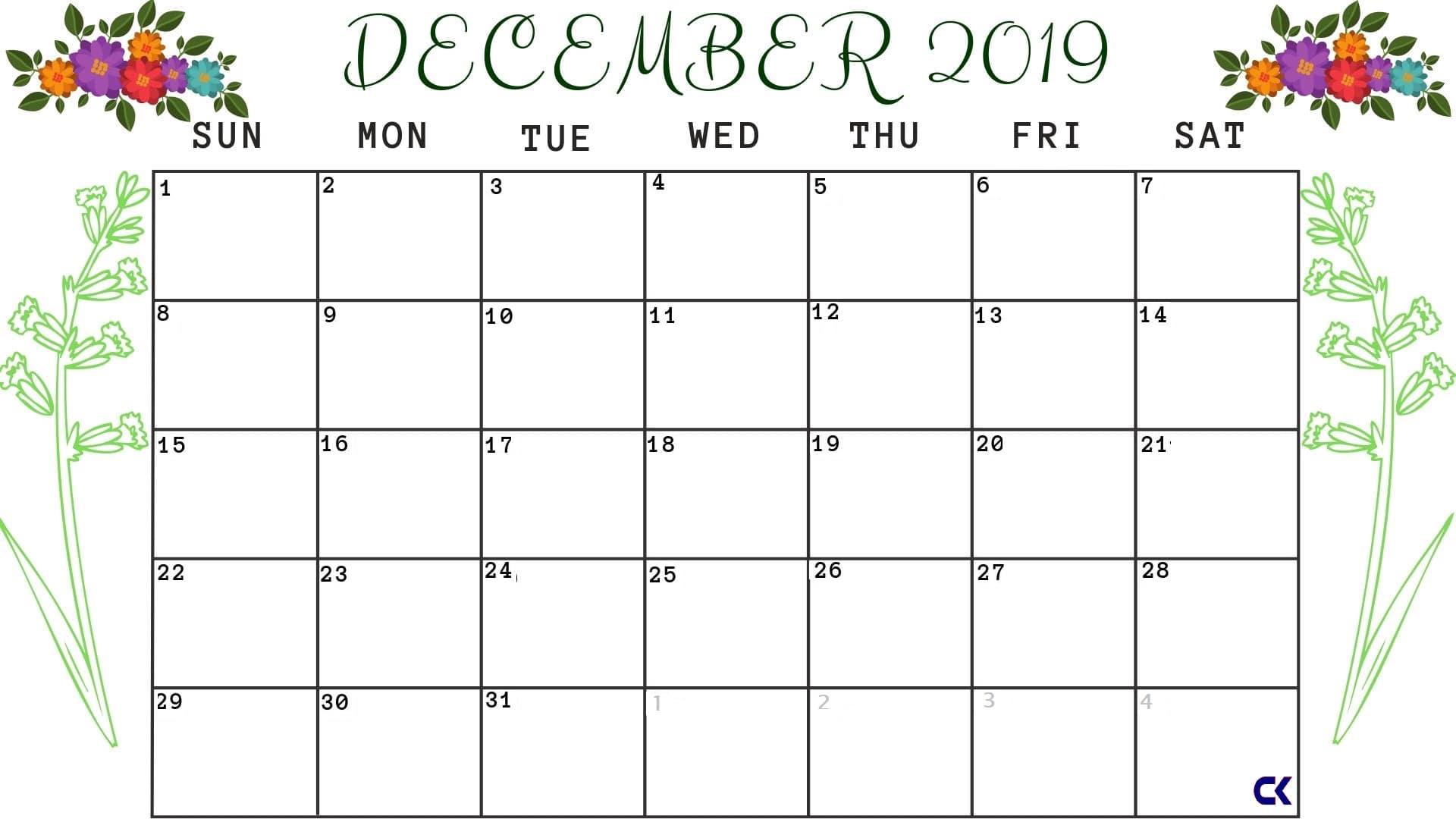 December Calendar 2019 Printable Cute