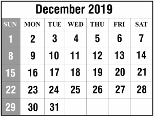 December Calendar 2019 Printable PDF