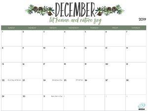 December Calendar 2019 Printable with Holidays