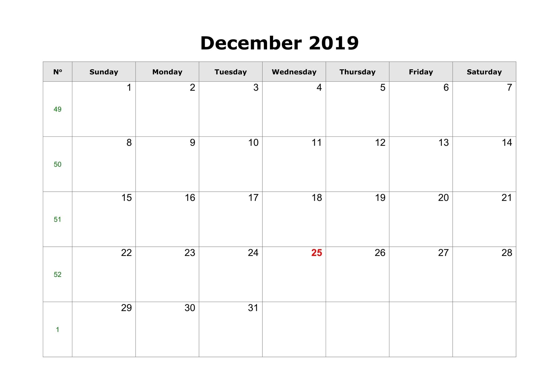 December Calendar Template 2019