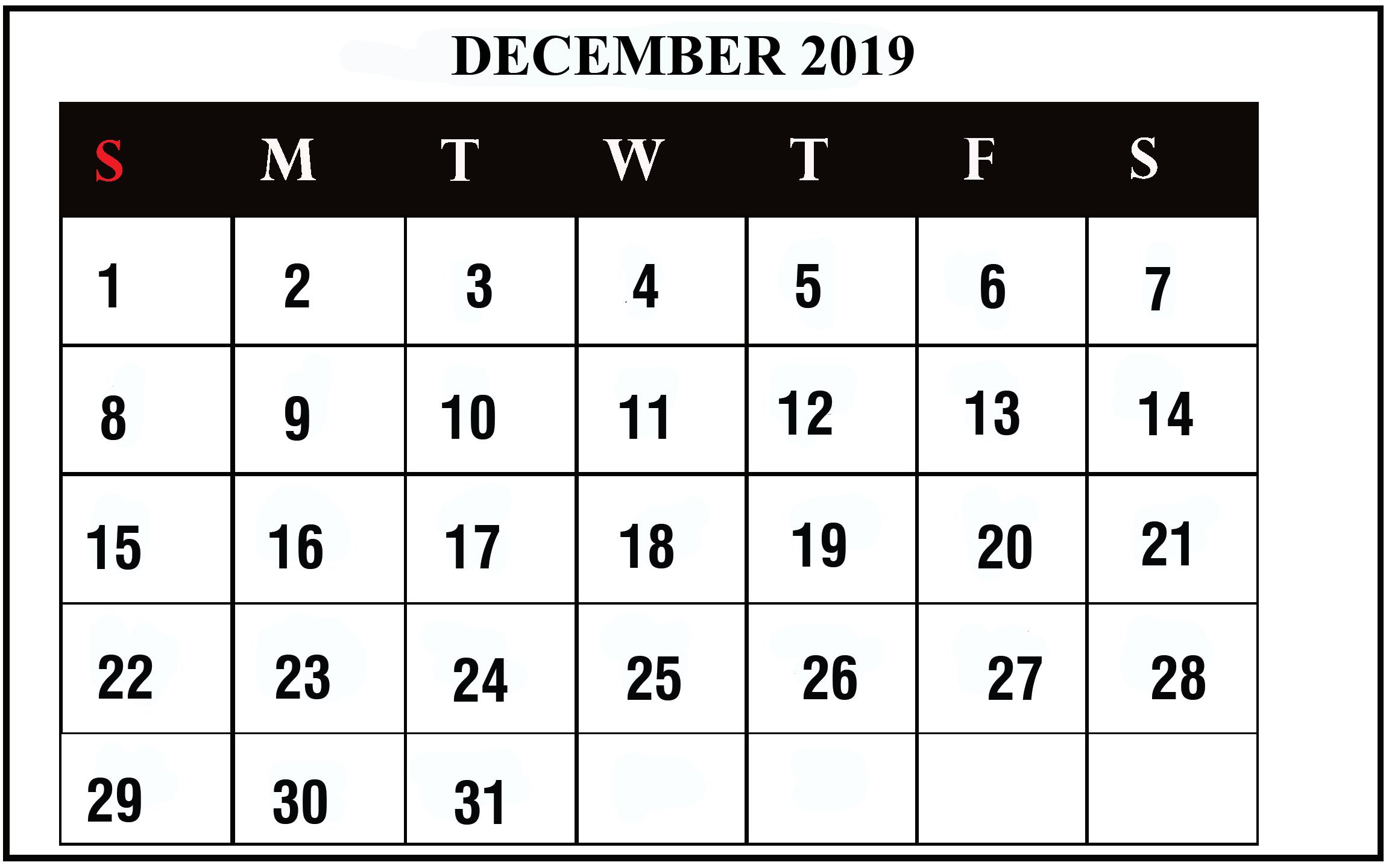 Editable December 2019 Printable Calendar