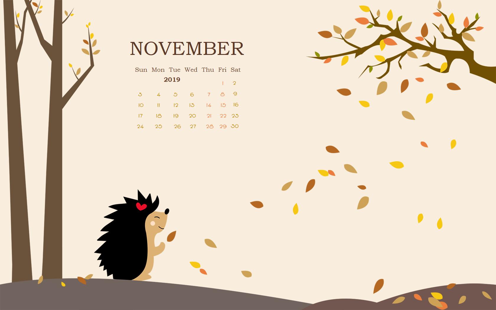 Floral November 2019 Calendar Wallpaper For Desktop