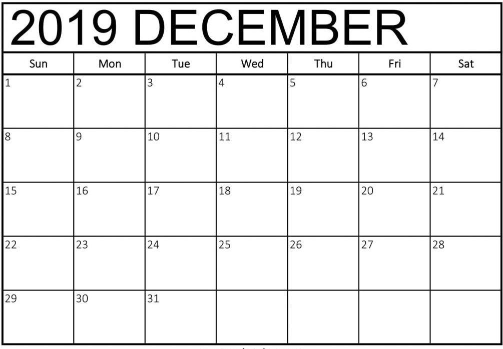 Free Calendar December 2019 Printable Blank PDF