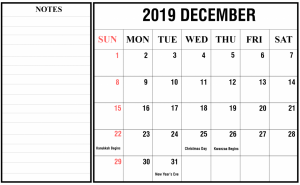 Monthly Blank Calendar Template December 2019