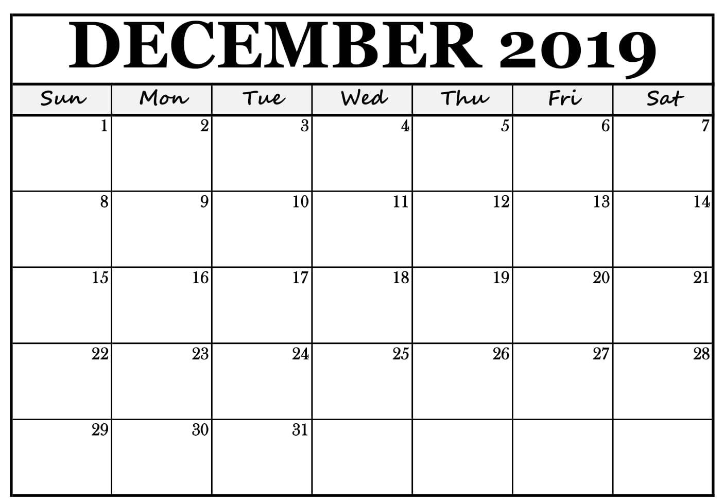 Monthly Calendar Template December 2019