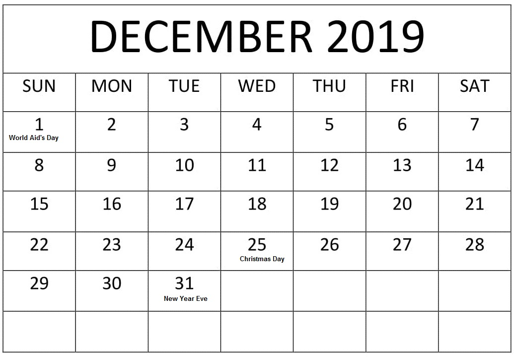 Monthly December 2019 Editable Calendar