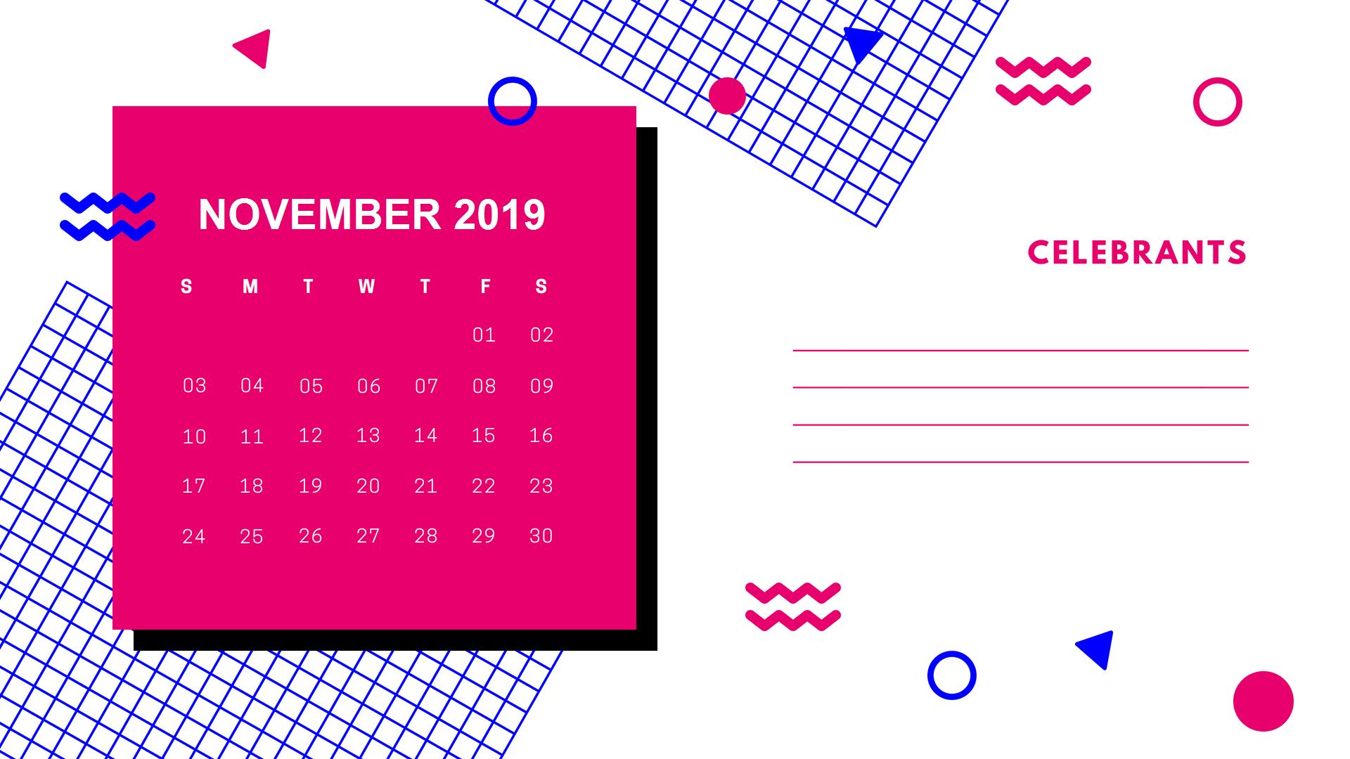 November 2019 Cute Calendar
