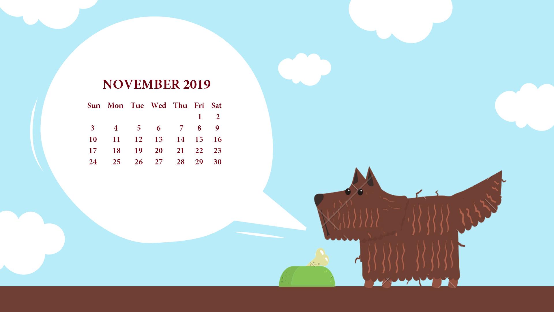 November 2019 Desktop Calendar Wallpaper