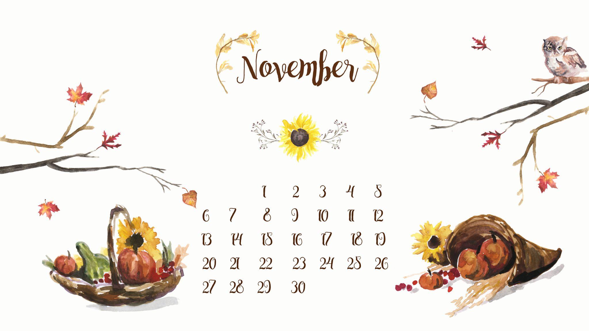 November 2019 Screensaver Calendar Wallpaper