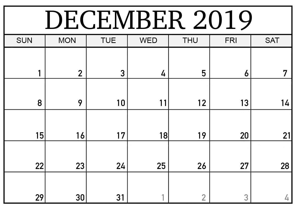 PDF Blank Calendar December 2019