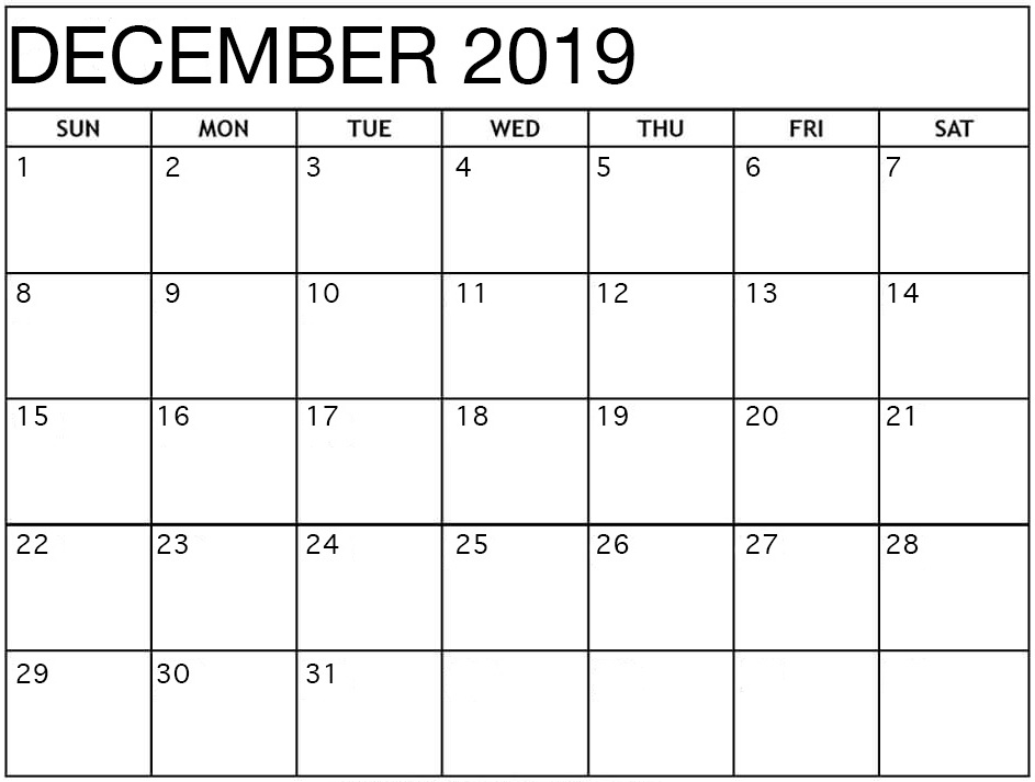 Print December 2019 Fillable Template