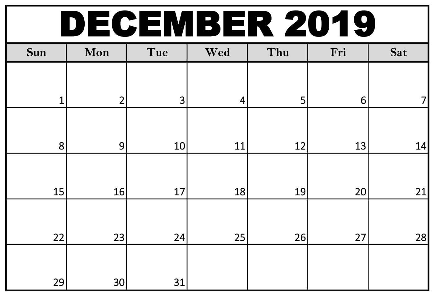 Printable Calendar December 2019 US