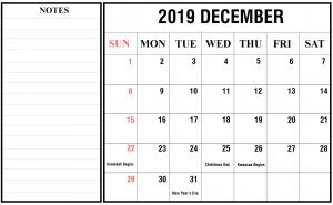Printable Calendar December 2019 with Notes