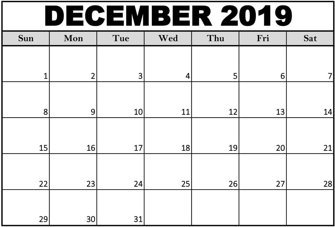 Printable December 2019 Calendar Excel Format