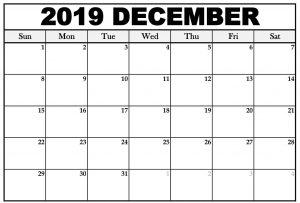 Printable December 2019 Calendar Template