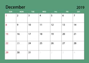 2019 December Calendar Template