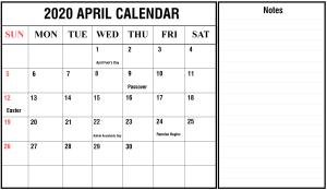 2020 April Calendar With Notes
