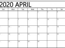 Blank Calendar Template April 2020