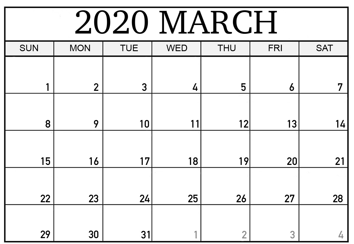 Calendar For March 2020