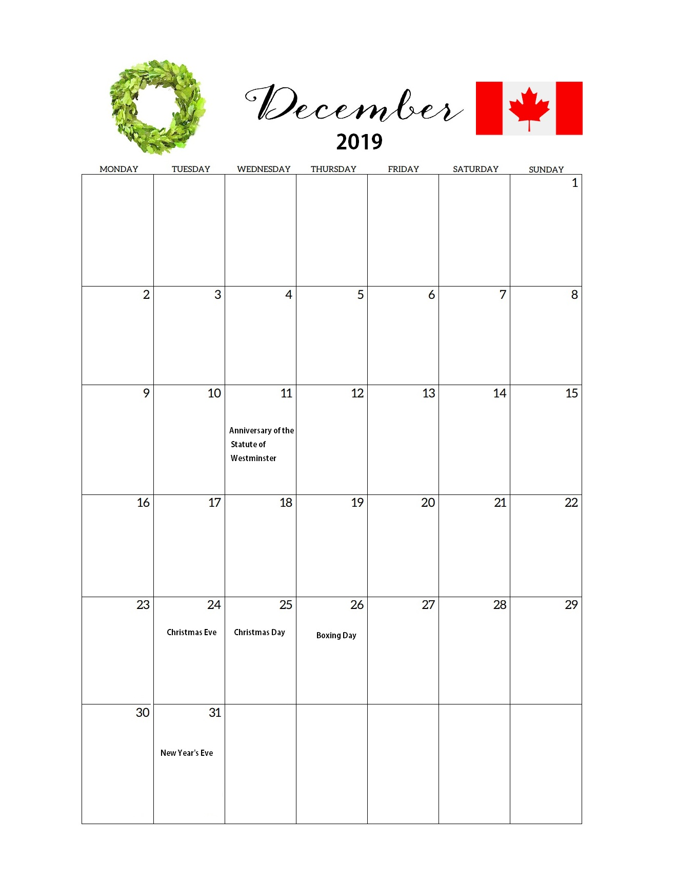 Canada December 2019 Federal Holidays Calendar