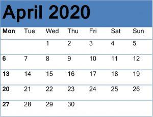 Cute April 2020 Calendar Template