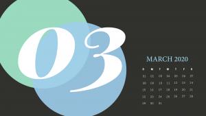 Cute March 2020 Desktop Calendar Wallpaper