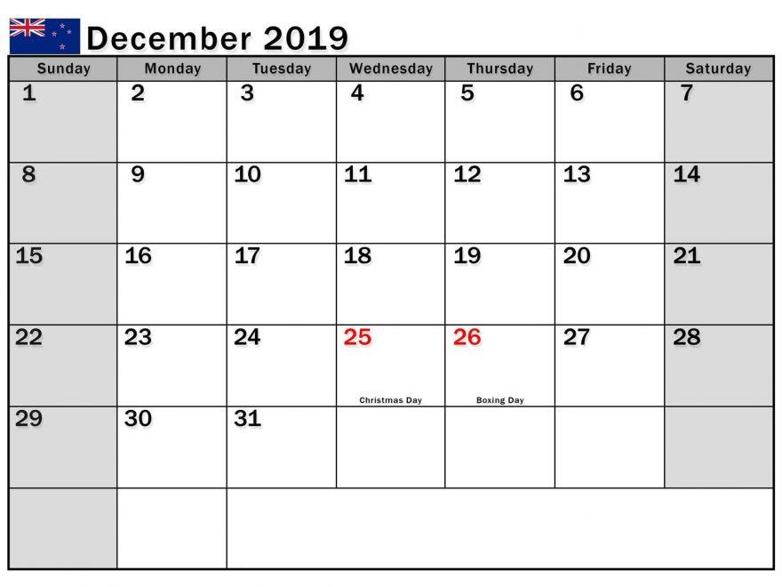 December 2019 Calendar NZ Public Holidays