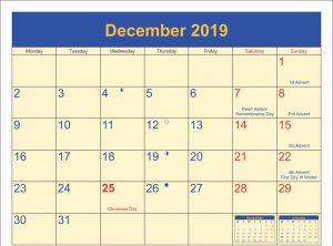 December 2019 Calendar With Official Holidays