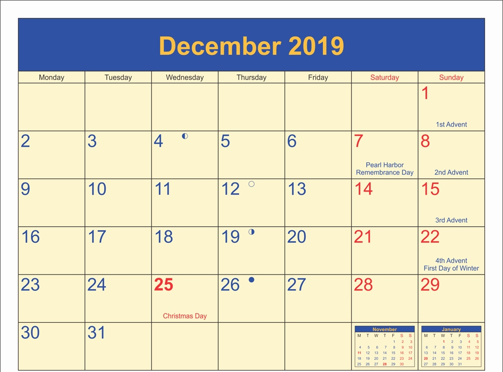 December 2019 Calendar With Official Holidays