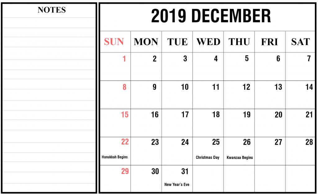 December 2019 Holidays Calendar Template